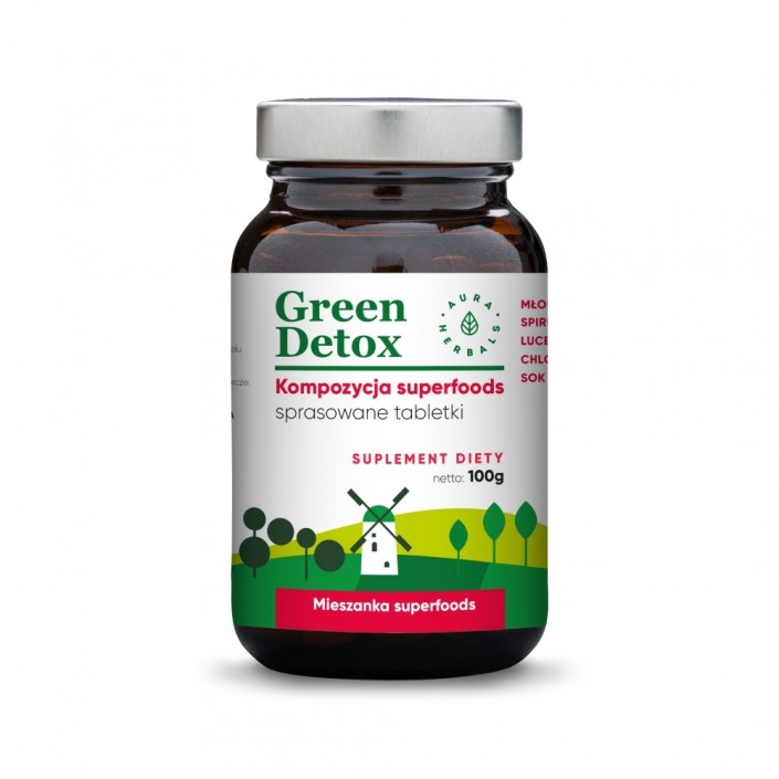 AURA HERBALS Green Detox - tabletki oczyszczające 100g (ok. 75 tabletek)