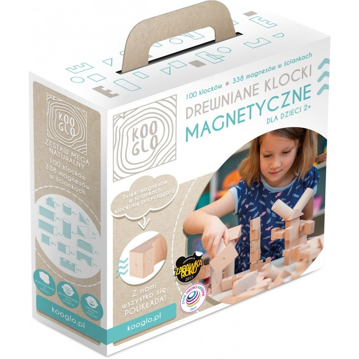 Klocki drewniane magnetyczne  Kooglo Mega Natural 100 el.